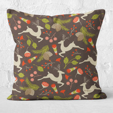 Brown Leaping Deer Throw Pillow