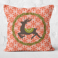 Red Snowflakes and Prancer Throw Pillow