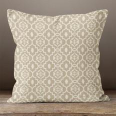 Taupe Quatrefoil Throw Pillow