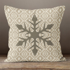 Taupe Snowflake Quatrefoil Throw Pillow
