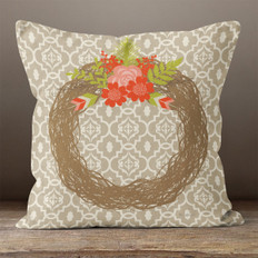 Taupe Rustic Wreath Throw Pillow