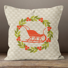 Taupe Snowflakes Sleigh and Wreath Throw Pillow