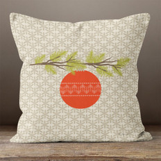 Taupe Snowflakes Red Ornament and Pine Throw Pillow