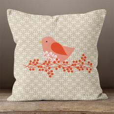Taupe Snowflakes Pink Partridge Throw Pillow