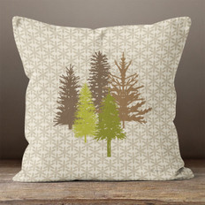 Taupe Snowflakes and Pines Throw Pillow