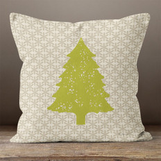 Taupe Snowflakes Pine Tree Throw Pillow