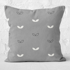Dark Grey with Double Leaves Throw Pillow