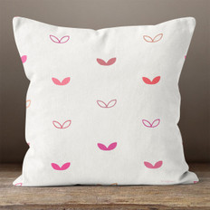 White with Multi Pink Double Leaves Throw Pillow