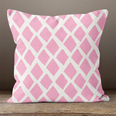 White with Pink Abstract Diamonds Throw Pillow