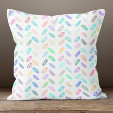 White with Multicolored  Abstract Ovals Throw Pillow