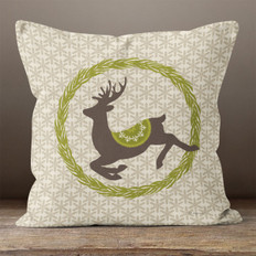 Taupe Prancer in a Wreath Throw Pillow