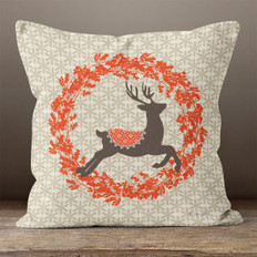 Taupe Comet in a Wreath Throw Pillow