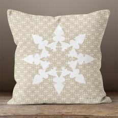 Taupe and White Snowflake 2 Throw Pillow