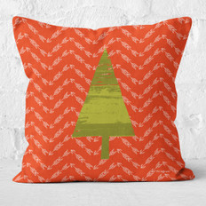Red Arrows and Pine Tree Throw Pillow