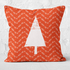 Red Arrows and White Tree Throw Pillow