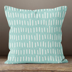 Teal with White Hash Marks Throw Pillow