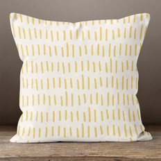 Cream with Gold Hash Marks Throw Pillow