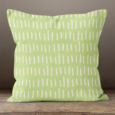 Green with White Hash Marks Throw Pillow