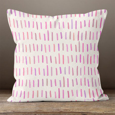White with Pink & Purple Hash Marks  Throw Pillow