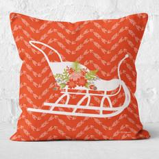 Red Arrows White Sleigh Throw Pillow