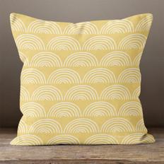 Gold with White Rainbows Throw Pillow