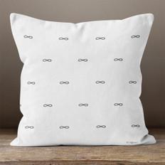 White with Dark Grey Infinity Symbols Throw Pillow