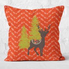 Red Arrows and Rudolph in the Pines Throw Pillow