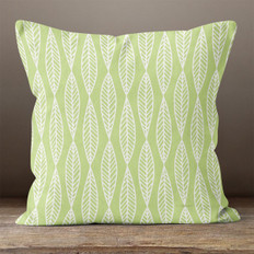 Green with White Outlined Leaves Throw Pillow