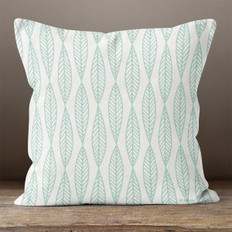 White with Blue Outlined Leaves Throw Pillow