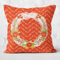 Red Arrows White Floral Wreath Throw Pillow