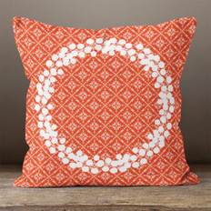 Red Fairest Isle and White Berry Wreath Throw Pillow