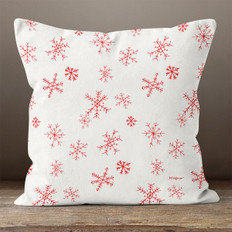 White with Red Snowflakes Throw Pillow
