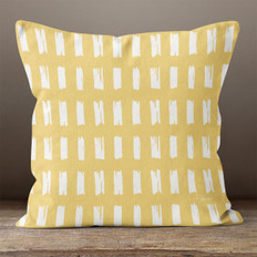 Gold with Hand Sketched Rectangles Throw Pillow