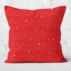 Red with White Swirls & Stars Throw Pillow