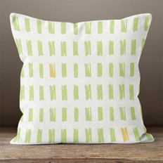 White with Green Hand Sketched Rectangles Throw Pillow