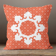 Red Fairest Isle and White Snowflake 2 Throw Pillow