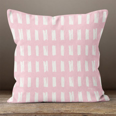 Pink with White Hand Sketched Rectangles Throw Pillow