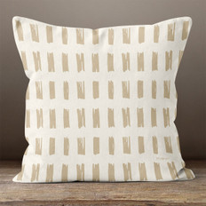 White with Tan Hand Sketched Rectangles Throw Pillow