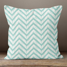 White with Teal Chevrons Throw Pillow