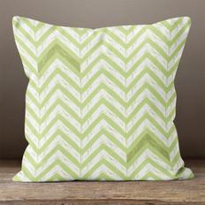 Green with White Chevrons Throw Pillow