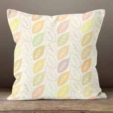 Cream with Multicolored Outlined and Solid Leaves Throw Pillow