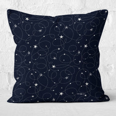 Midnight Blue Swirls & Stars Throw Pillow