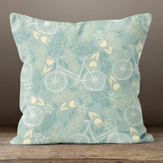 Light Blue Bicycles and Blooms Throw Pillow