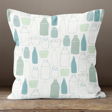 White Kitchen Blues Throw Pillow