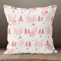 Cream with Red Christmas Town Throw Pillow