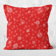 Red with White Snowflakes Throw Pillow