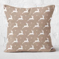 Tan with White Reindeer Throw Pillow