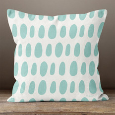 White with Teal Irregular Ovals Throw Pillow