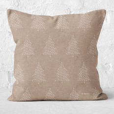 Tan with White Snowflake Christmas Trees Throw Pillow