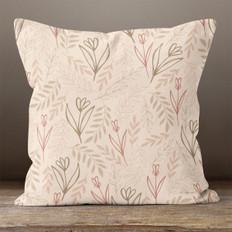 Mocha Blooms Throw Pillow